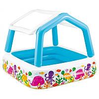 Intex Бассейн детский надувной cо съемной крышей «Домик» 57470