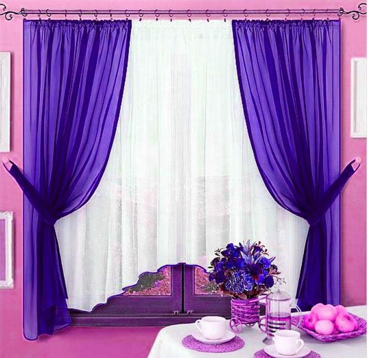 Комплект штор Джоанна Синій, кухонні