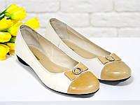 Туфли балетки из натуральной кожи бежевого цвета с бантиком