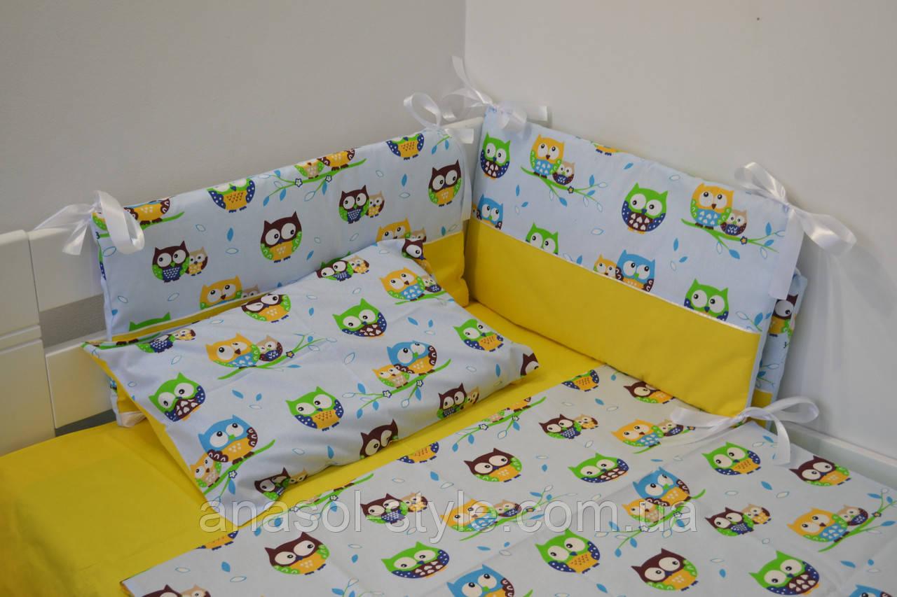 Постель в детскую  кроватку Совы  на желтом