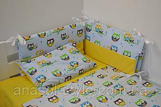 Постель в кроватку Совы  на желтом