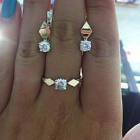 Набор украшений из серебра 925 пробы с золотыми плаcтинами - Ромбики