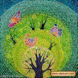 Ткань с рисунком для вышивки бисером Райские птички
