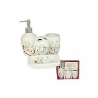 Набор аксессуаров для ванной комнаты 4 пр S&T Роза 888-06-001