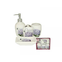 Набор аксессуаров для ванной комнаты 4 пр S&T Сирень 888-06-003