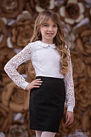 Школьная блузка Кружево Зиронька 3633-1, цвет белый