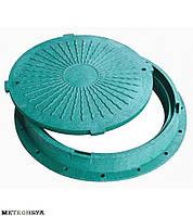 Люк полимерный для кабельных колодцев ГТС с з/у ( зеленый 3 т.)