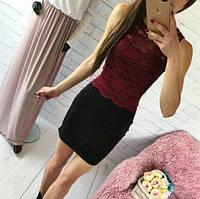 Костюм летний  модный юбочный, кофта из набивного гипюра (6 цветов)