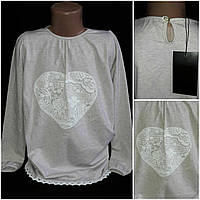 Хлопковая футболка девочке, длинный рукав, рост 116-140 см., 190/170 (цена за 1 шт. + 20 гр.)