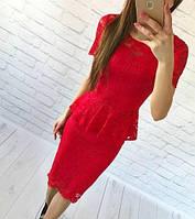 Костюм летний  модный юбочный, кофта-баска из набивного гипюра (5 цветов)