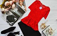Костюм летний  нарядный юбочный, кофта-баска из набивного гипюра (6 цветов)