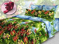 """Евро комплект постельного белья 3Д """"Райский уголок"""""""