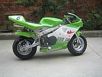 Детский спортивный мотоцикл на  резиновых колесах HL-E 29: 24V, 35 км/ч. зеленый***