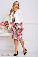 Костюм женский, состоящий из платья и жакета, лето-весна, размеры 52, 54, 56, коралловый