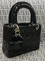 Женская сумочка Lady Dior Mini черная лаковая