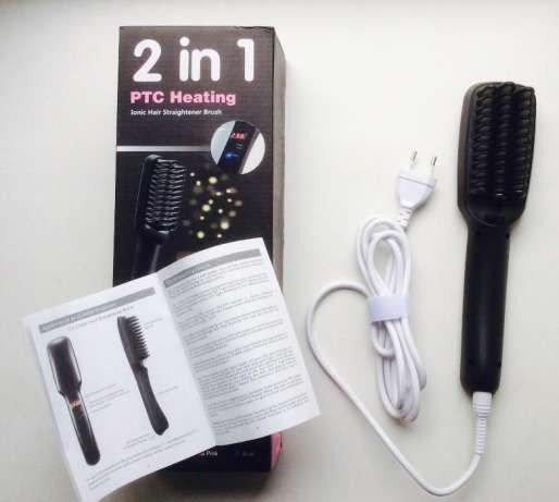 Расческа выпрямитель для волос PTC Heating 2 in 1 плойка для волос выпрямитель-расческа
