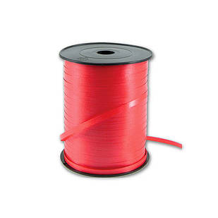 Лента декоративная оформительская, тесьма для шариков, цвет: красная, ширина: 5 мм, длина: 230 метров