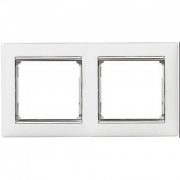 Рамка 2-местная горизонтальная, белый / серебряный штрих, Legrand Valena Легранд Валена