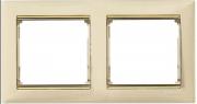 Рамка 2-местная горизонтальная, слоновая кость / золотой штрих, Legrand Valena Легранд Валена