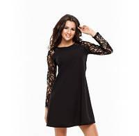 Платье мини  модное с гипюровыми рукавами из микродайвинга (3 цвета)