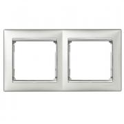 Рамка 2-местная горизонтальная, алюминий / серебряный штрих, Legrand Valena Легранд Валена