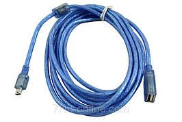 Кабель CU-1059 OTG USB AF- Mini USB 5P 3м
