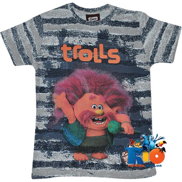 """Яркая футболка с веселым принтом """"Trolls"""" , трикотаж , для мальчика от 5-8 лет (4 ед. в уп.)"""
