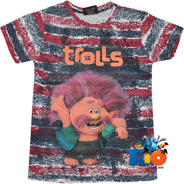 """Яркая футболка с веселым принтом """"Trolls"""" , трикотаж , для мальчиков от 5-8 лет (4 ед. в уп.)"""