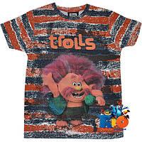 """Летняя футболка с веселым принтом """"Trolls"""" , трикотаж , для мальчика от 5-8 лет (4 ед. в уп.)"""
