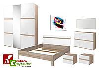 Спальня Либерти 3D БРВ Дуб сонома + белый блеск