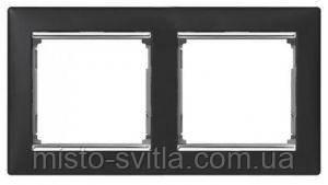 Рамка 2-місцева горизонтальна, ноктюрн / срібний штрих, Legrand Valena Легранд Валена