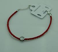 Толстые женские браслеты из красной нити с цирконием в серебре 1142