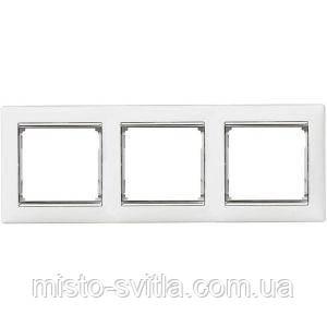 Рамка 3-місна горизонтальна, білий / срібний штрих, Legrand Valena Легранд Валена