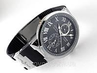 Мужские часы Ulysse Nardin - Le Locle 1845 механические с автозаводом, корпус серебристый, ремешок черный