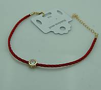 Толстый женский браслет из красной нити с цирконием в золоте 1143