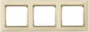 Рамка 3-местная горизонтальная, слоновая кость / золотой штрих, Legrand Valena Легранд Валена