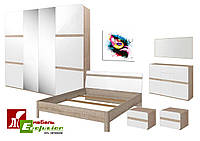 Спальня Либерти 4D БРВ Дуб сонома + белый блеск