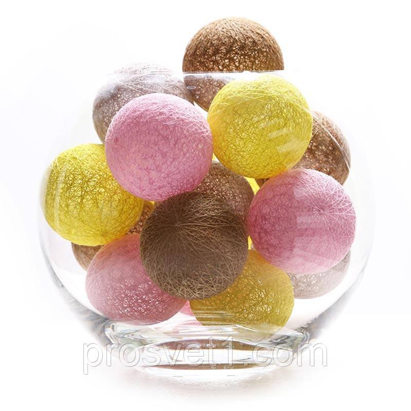 Тайские фонарики 20 шарик (5 желтых, 5 светло розовых, 5 светло коричневых , 4 серых)