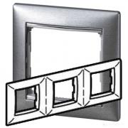 Рамка 3-местная горизонтальная, алюминий матовый, Legrand Valena Легранд Валена