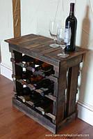Полочка для винных бутылок из натурального дерева