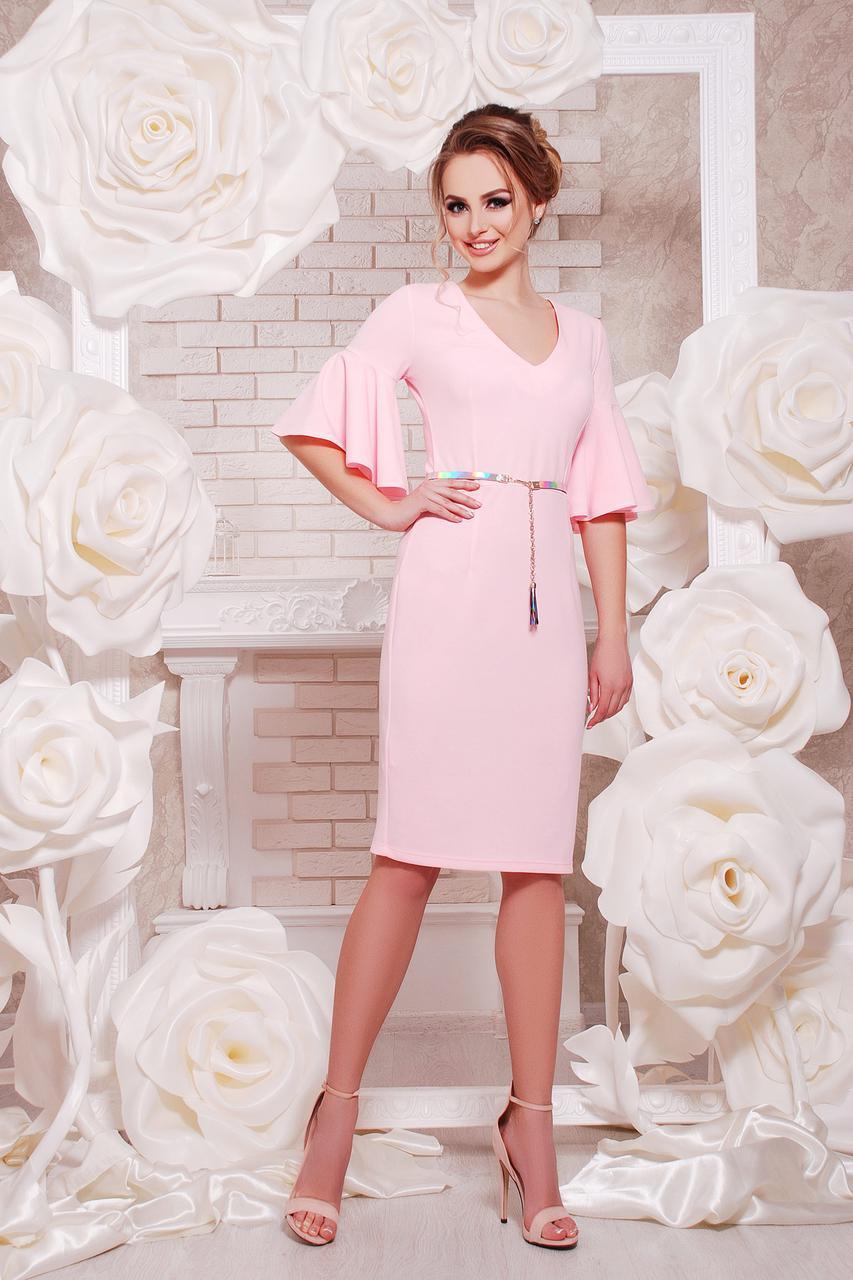 3d0e5ac638e4 Пудровое платье нарядное, очень красивое с воланами на рукавах - Интернет -  магазин