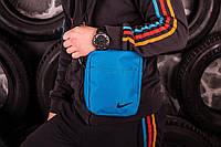 Барсетка мужская, сумка через плечо, голубой