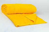 Банное махровое полотенце однотонное Туркменистан 70х140 плотность 500гр/м2 Жёлтое (B1-1-R)