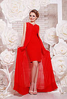Красное платье с накидкой-шлейфом вечернее выпускное