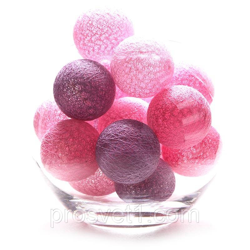 Тайские фонарики 20 шарик (7 розовых, 6 фиолетовых, 7 светло розовых)