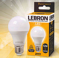 LED лампа Lebron L-A60, 8W, Е27, 3000K, 700Lm, кут 240°