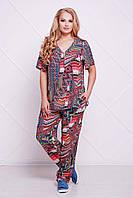 Летний женский брючный костюм большого размера ДОННА красный  ТМ Таtiana 54-60 размеры