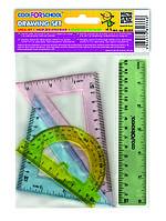 Набір кольорових лінійок (лін.15см, тр.7см, тр.9см, транс.)