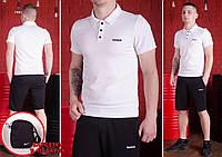 Комплект - Футболка поло белая и шорты черные Reebok.+ подарок