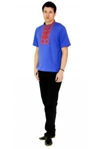 Синяя футболка с красивой вышивкой крестиком